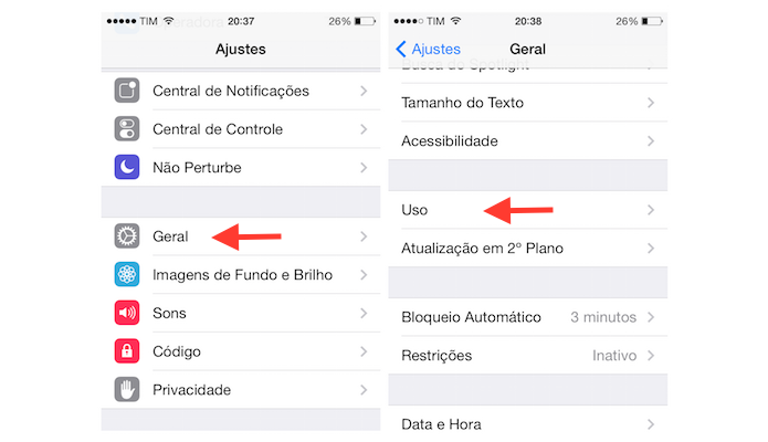 Configurações de Reparo do Iphone